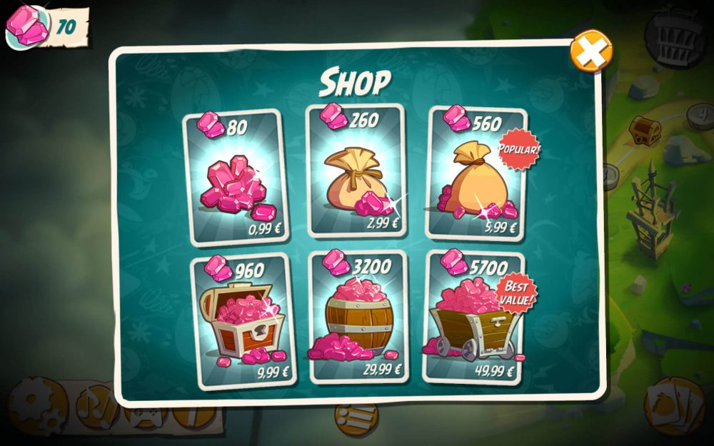 angry birds 2 in app purchases
