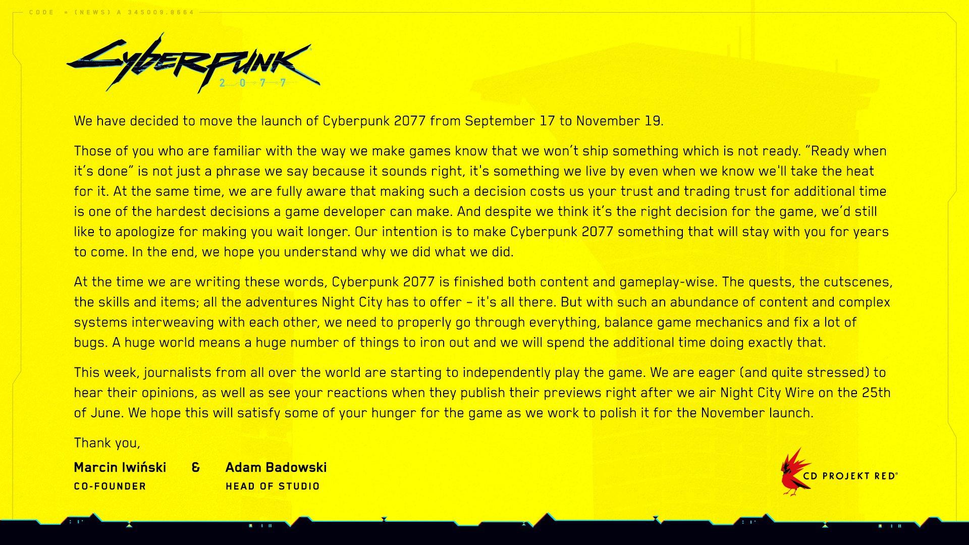 Cyberpunk 2077 Message from Devs